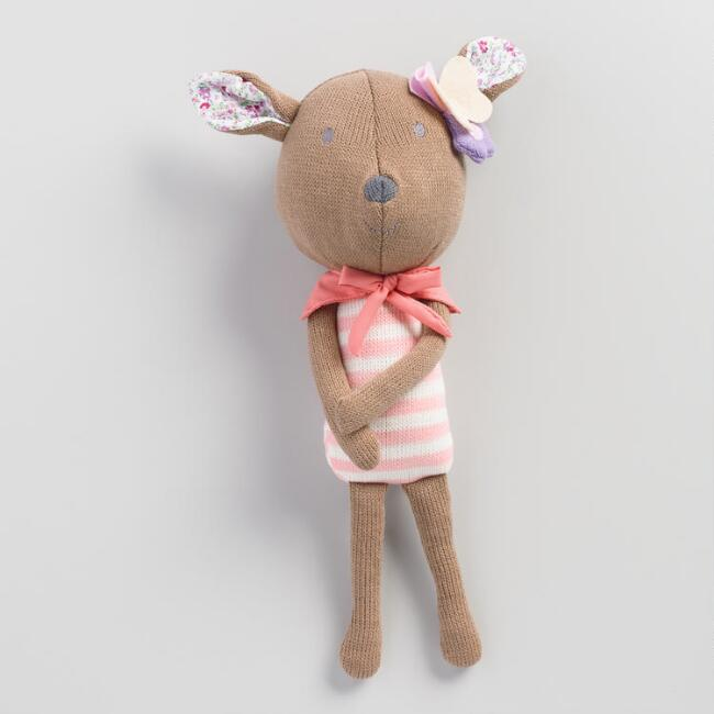Floral Knit Plush Deer