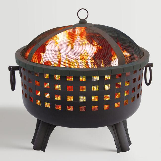 Black Steel Open Weave Fire Pit