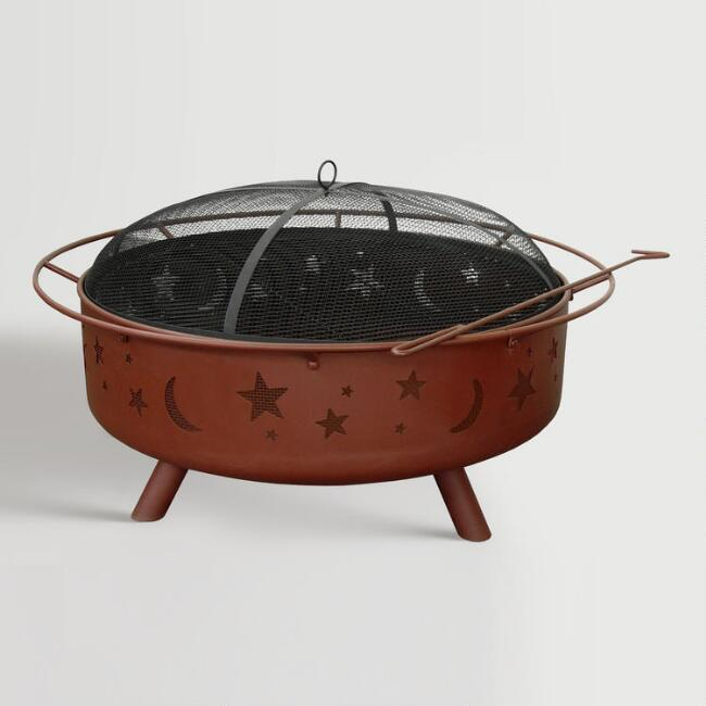 Large Black Steel Celestial Fire Pit