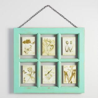 distressed aqua wood 6 photo windowpane frame with chain - Distressed Picture Frames