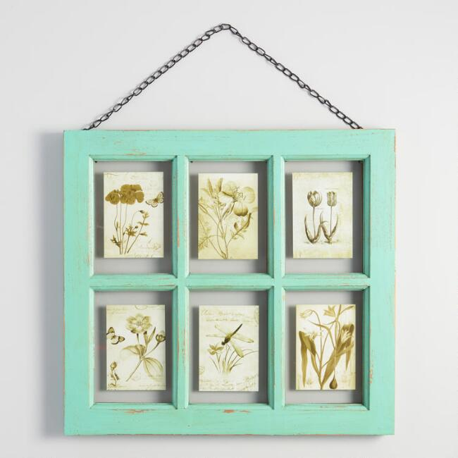 Distressed Aqua Wood 6 Photo Windowpane Frame with Chain | World Market