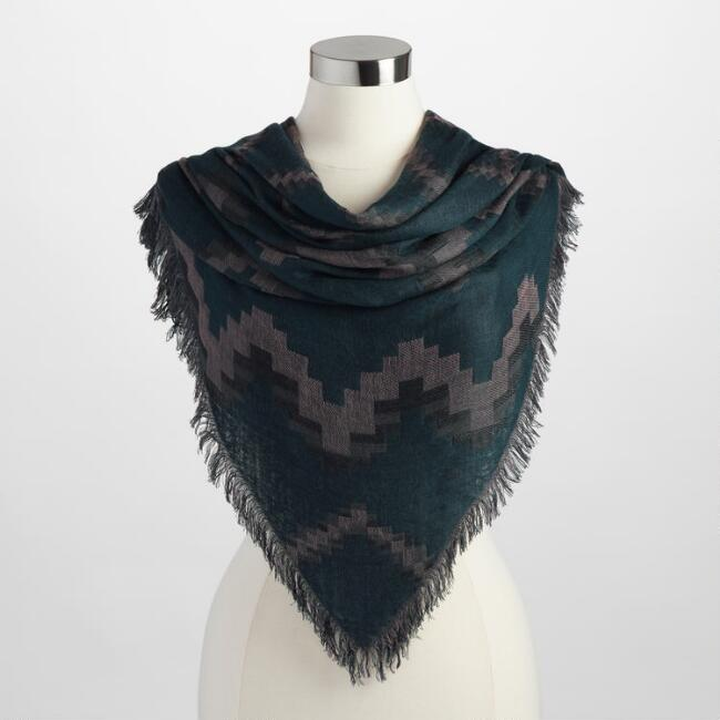 Gray and Teal Triangle Tribal Scarf