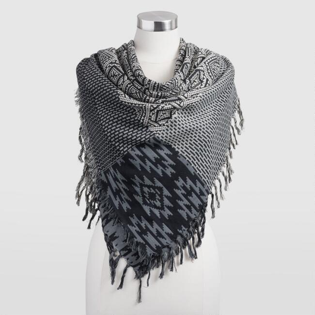 Black, Ivory and Gray Scarf with Fringe