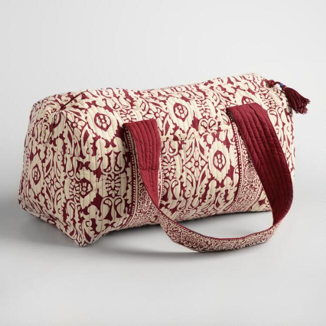 Red and Ivory Floral Quilted Weekender Bag