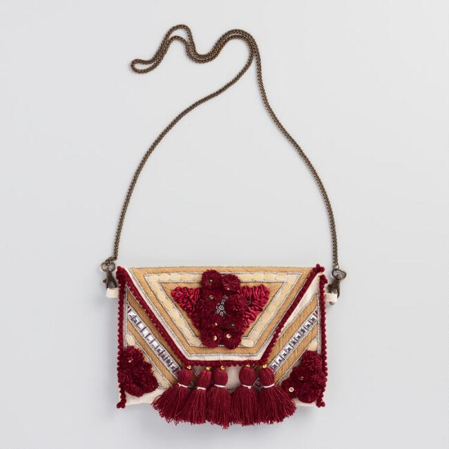 Wine Tassel Bag with Chain Strap