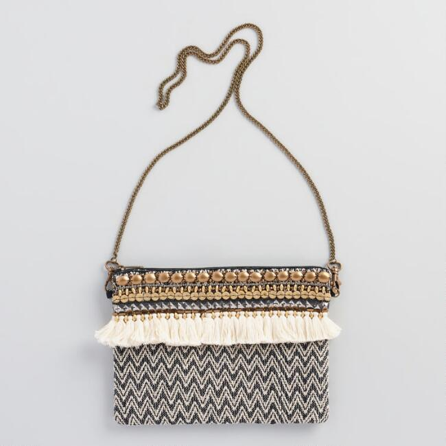Black and Ivory Bag with Chain Strap