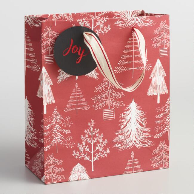 Medium Red and White Trees Gift Bag