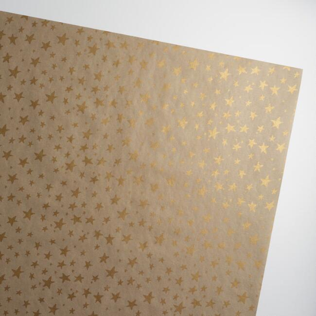 Jumbo Solstice Stars Kraft Wrapping Paper Roll