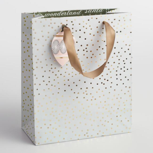 Large Solstice Gold Dots Gift Bag