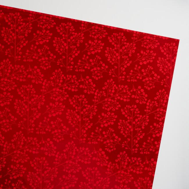 Jumbo Snowbird Metallic Red Wrapping Paper Roll