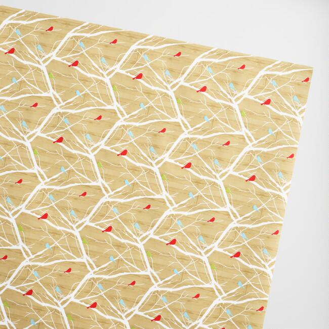 Jumbo Snowbird Brown Grain Wrapping Paper Roll