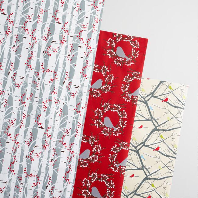 Snowbird Branches Wrapping Paper Rolls 3 Pack