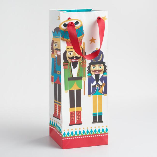 Large and Small Nutcracker Wine Bags Set of 2
