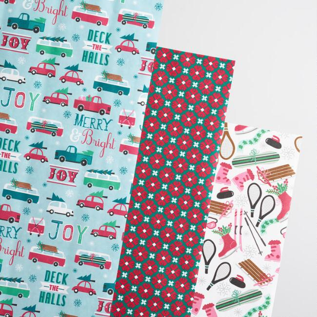 Mint Retro Kraft Wrapping Paper Rolls 3 Pack