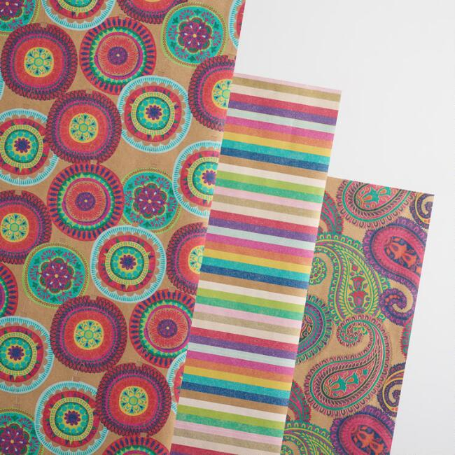 Paisley and Stripes Wrapping Paper Roll 3 Pack