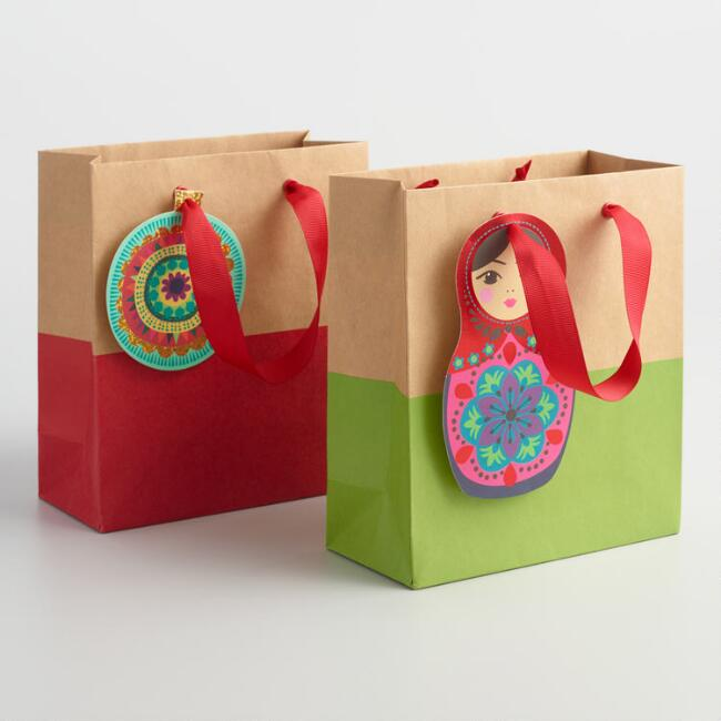 Small Russian Doll Dipped Kraft Paper Gift Bags Set of 2