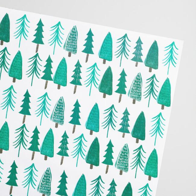 White and Green Trees Kraft Wrapping Paper 3 Pack