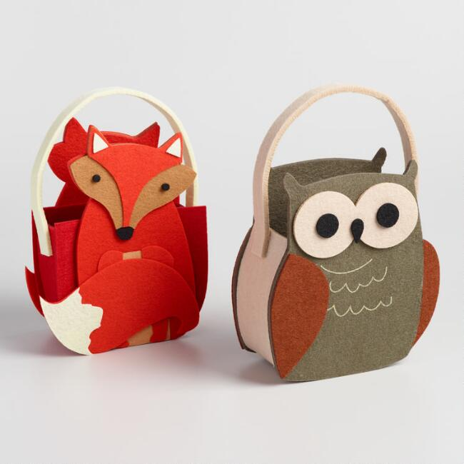 Woodland Owl and Fox Containers Set of 2