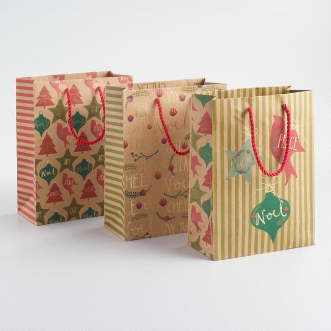 Medium Joy, Peace and Noel Kraft Gift Bags Set of 3