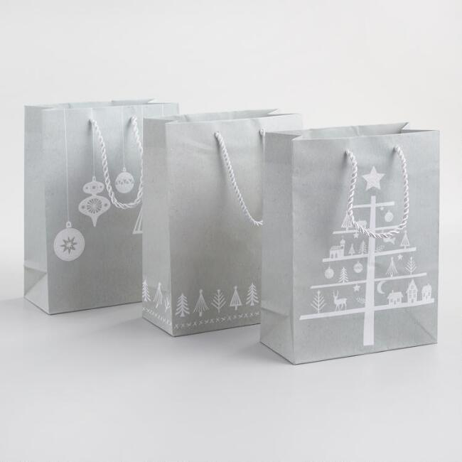 Medium Gray Trees and Ornaments Gift Bags Set of 3
