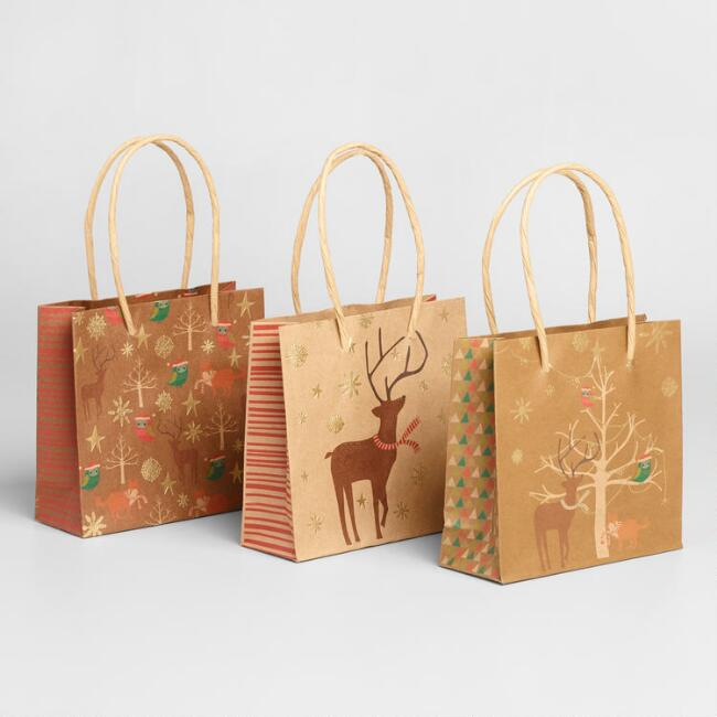 Mini Kraft Animals With Trees Gift Bags 6 Pack