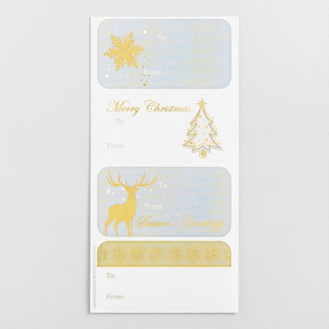 Silver and Gold Christmas Gift Labels Set of 2