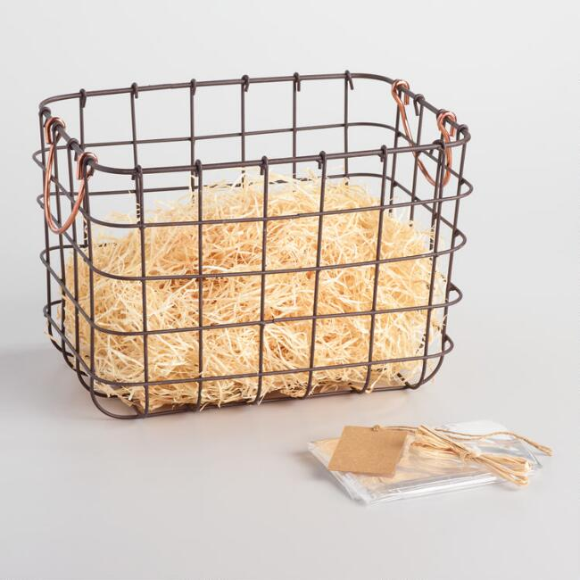 Wire Gift Basket Kit With Copper Handle