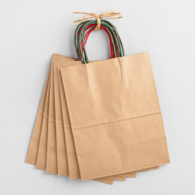 Medium Holiday Kraft Gift Bags 12 Pack