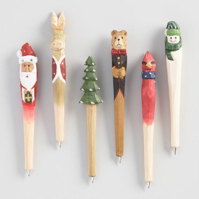 Hand Carved Wood Holiday Pens Set of 6
