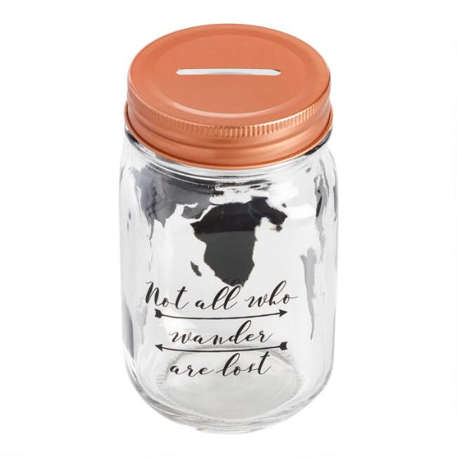 Glass World Map Jar