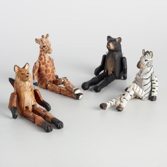 Hand Carved Wood Animals Set of 4
