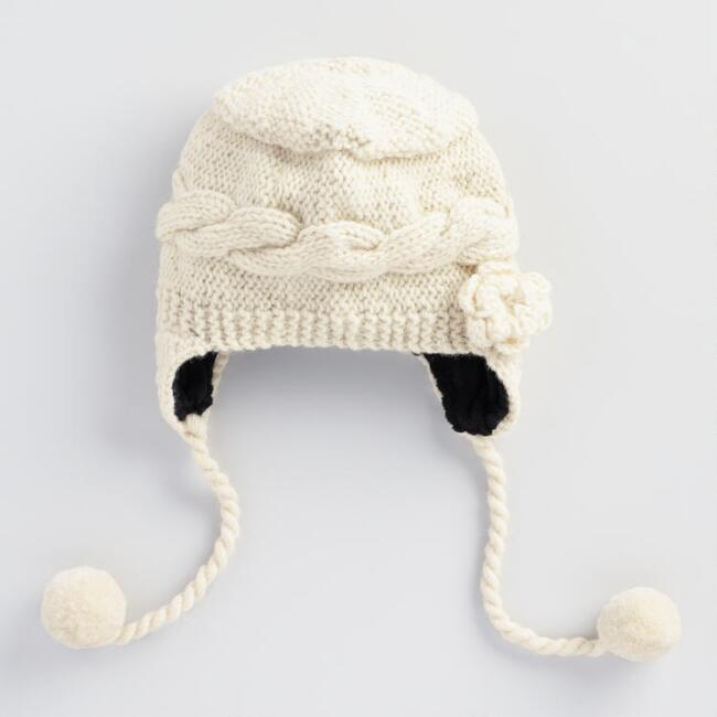 Ivory Flower Wool Trapper Hat