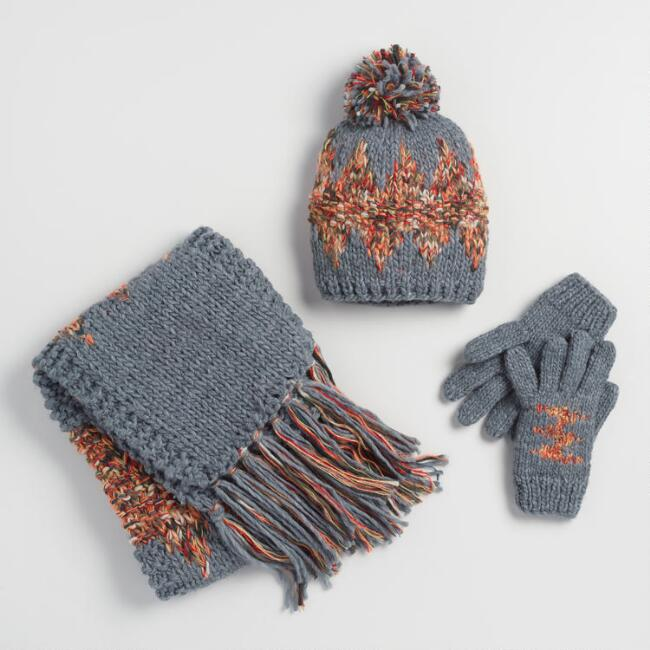 Gray Multicolor Hat, Scarf and Gloves Collection