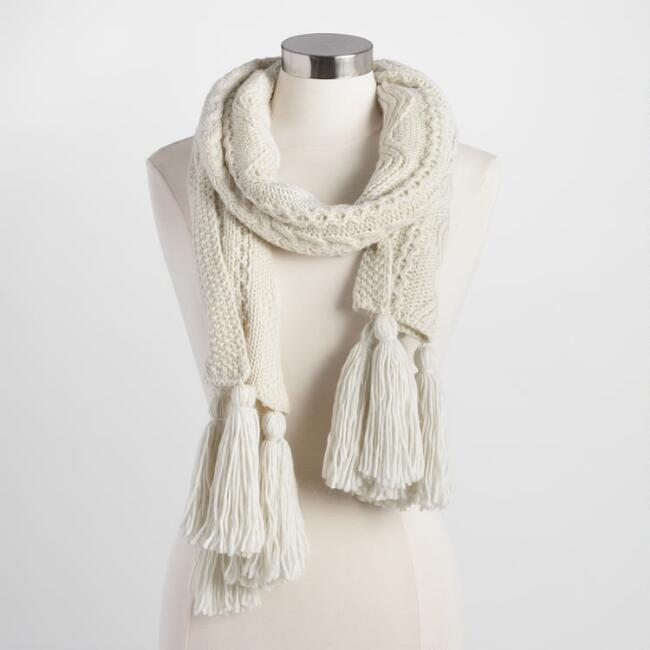 Ivory Cable Knit Scarf
