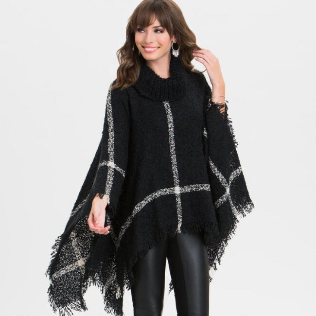 Oversized Black and White Boucle Poncho
