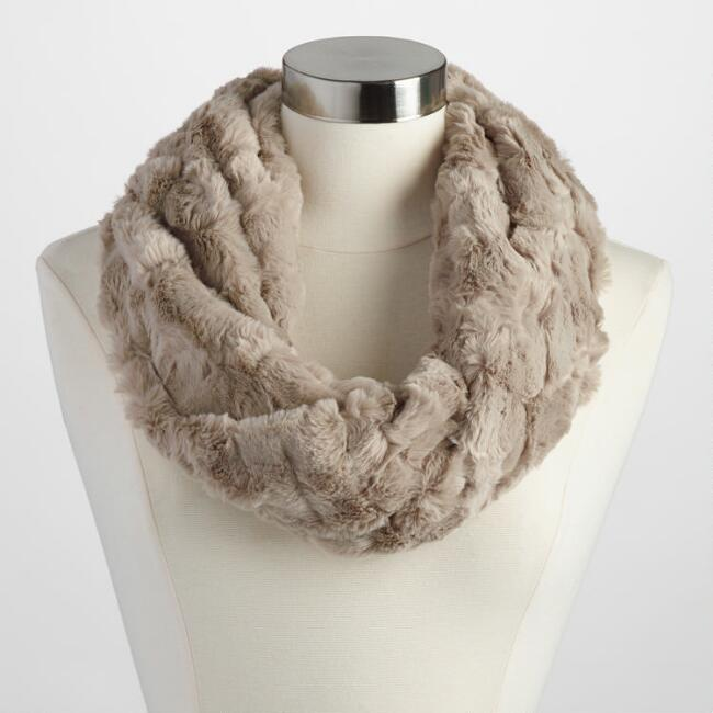 Oatmeal Faux Fur Snood