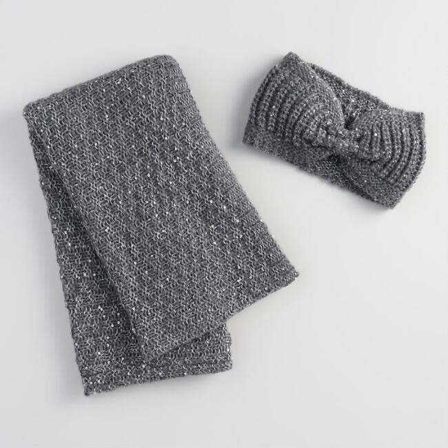 Gray Sequin Head Warmer and Infinity Scarf Collection