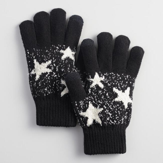 Black and Ivory Star Tech Gloves