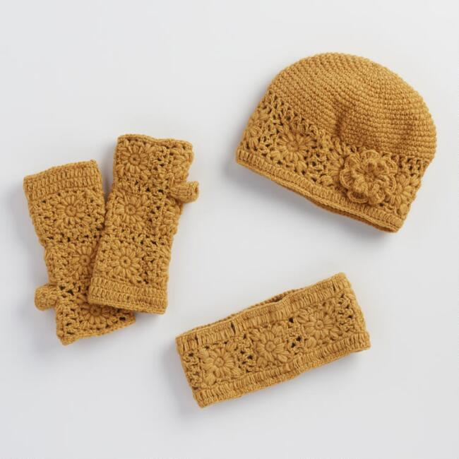Yellow Crochet Wool Gloves, Hat and Head Warmer Collection