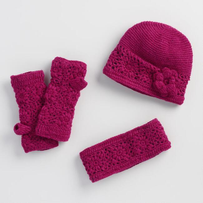 Pink Crochet Wool Gloves, Hat and Head Warmer Collection