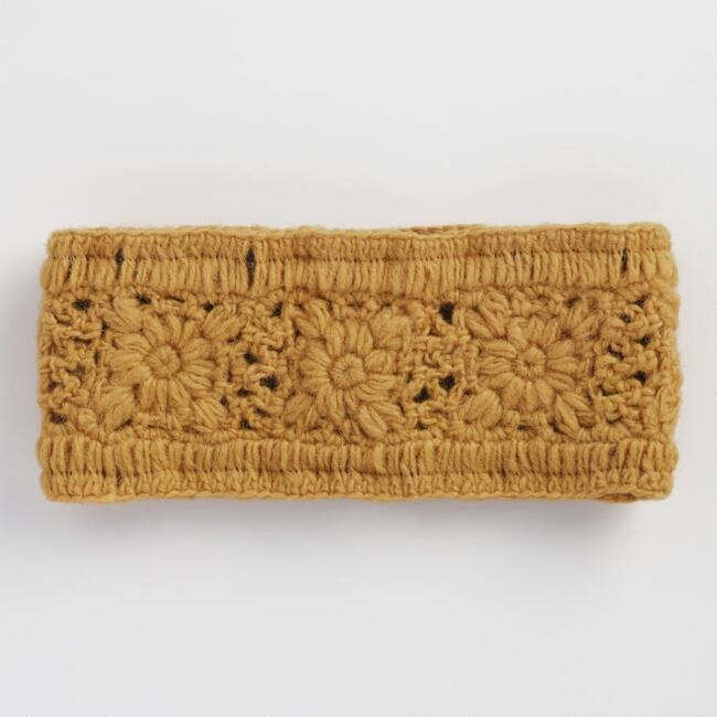 Yellow Crochet Wool Head Warmer