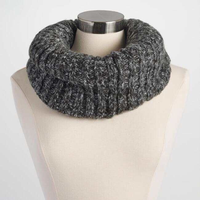 Dark Gray Knit  Snood with Ivory Fleece