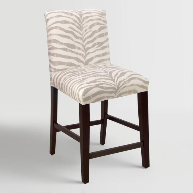 Tropo Cloud Zebra Stripe Kerri Upholstered Counter Stool