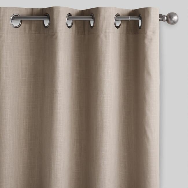 Taupe Harlow Grommet Top Cotton Curtains Set of 2