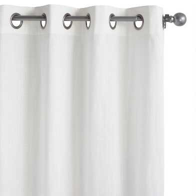 White Cotton Harlow Grommet Top Curtains Set Of 2