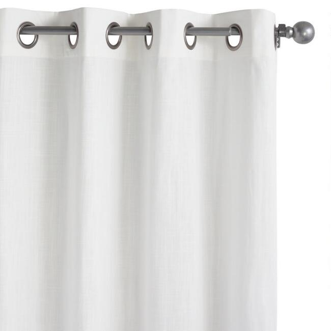 White Harlow Grommet Top Cotton Curtains Set of 2