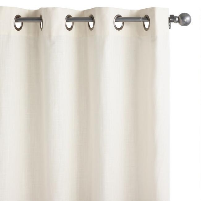 Ivory Cotton Harlow Grommet Top Curtains Set Of 2