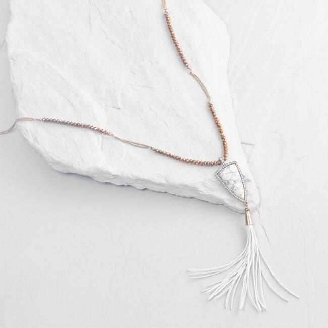 Howlite and Leather Tassel Necklace