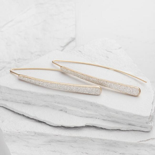 Gold Diamond Dust Drop Earrings