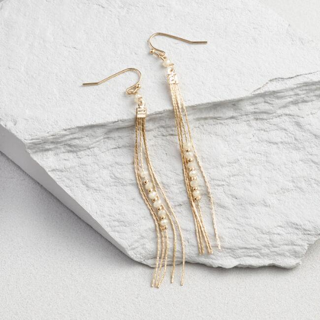 Gold and Opal Thread Drop Earrings